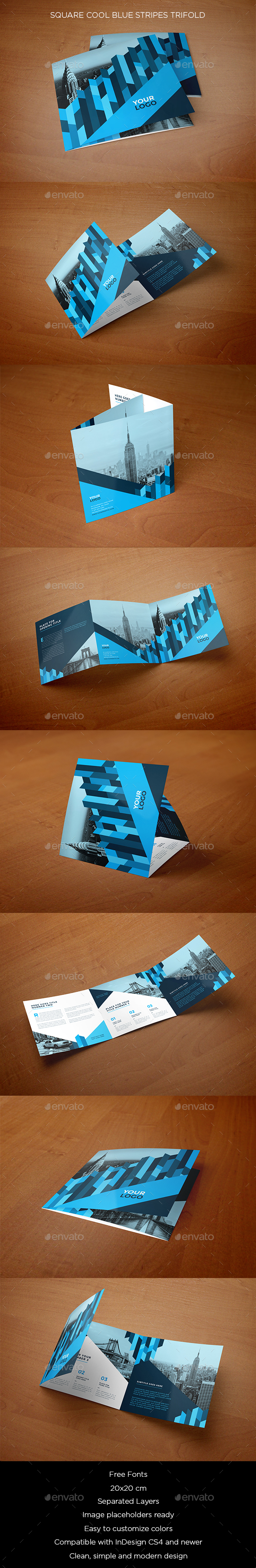 Square Cool Blue Stripes Trifold - Brochures Print Templates