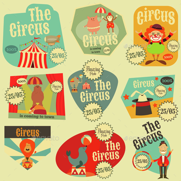 Circus Labels Set - Industries Business
