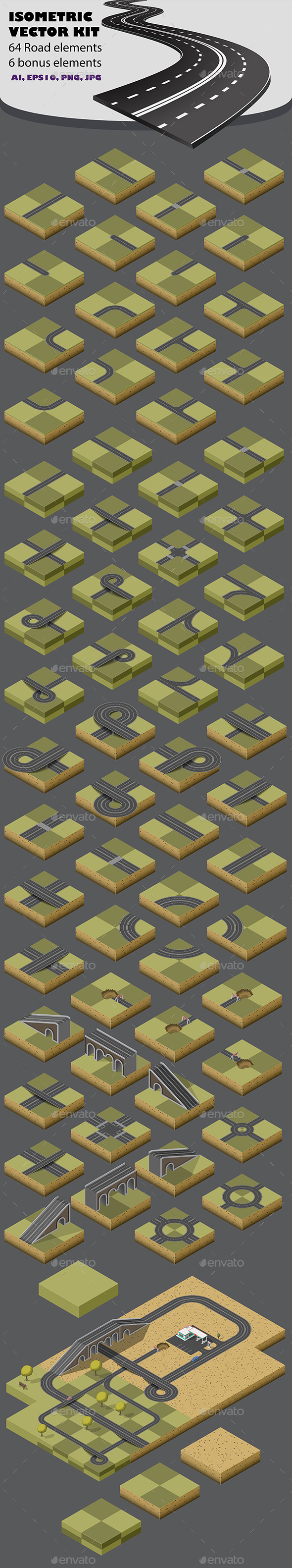 Road Map Kit  Isometric - Man-made Objects Objects