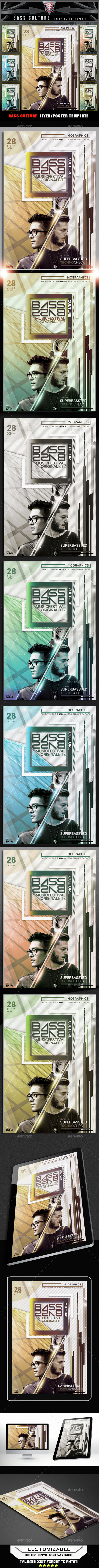 Bass Culture Flyer Template - Clubs & Parties Events