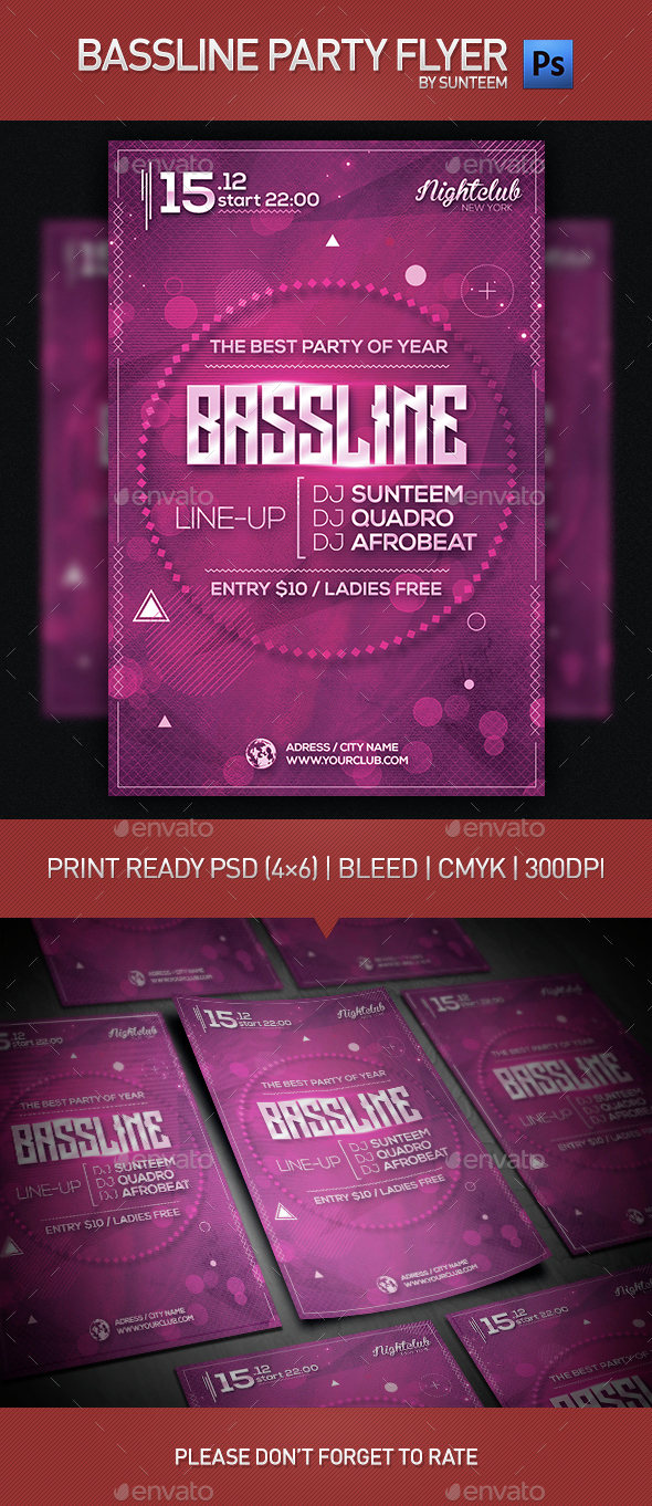 Bassline Party Flyer Template - Clubs & Parties Events
