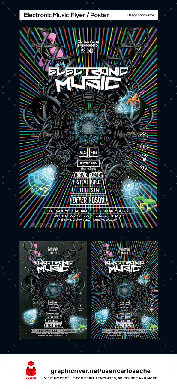 Electronic Music Flyer and Poster Template - Clubs & Parties Events