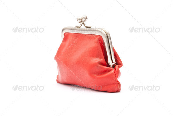 Old red purse - Stock Photo - Images