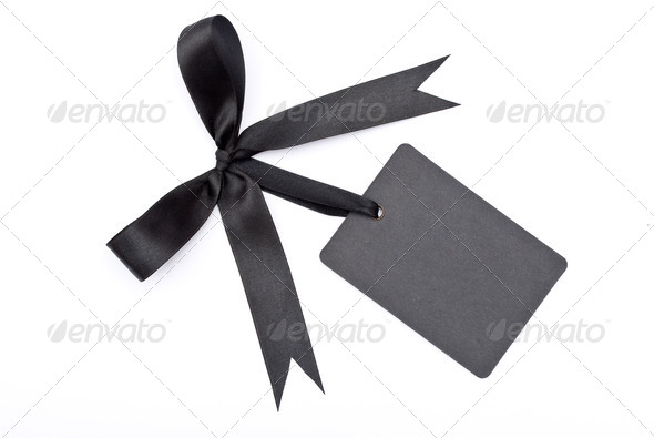 Black bow with label - Stock Photo - Images