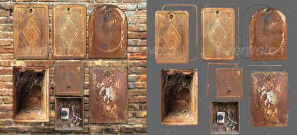 Rusty lids - Industrial & Science Isolated Objects