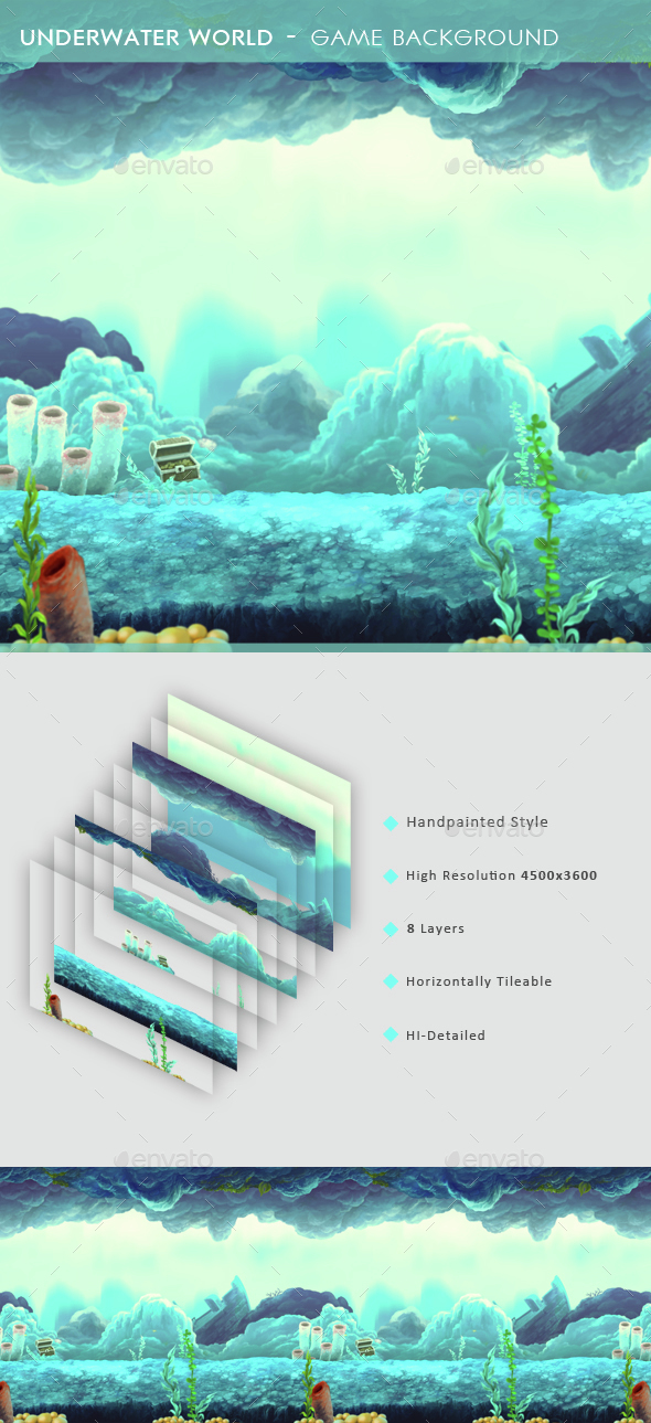 Underwater World - Game Background  - Backgrounds Game Assets