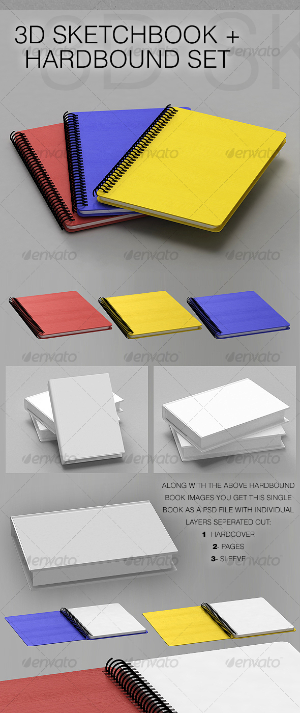 3D Sketchbooks + Hardbound Book - 3D Renders Graphics