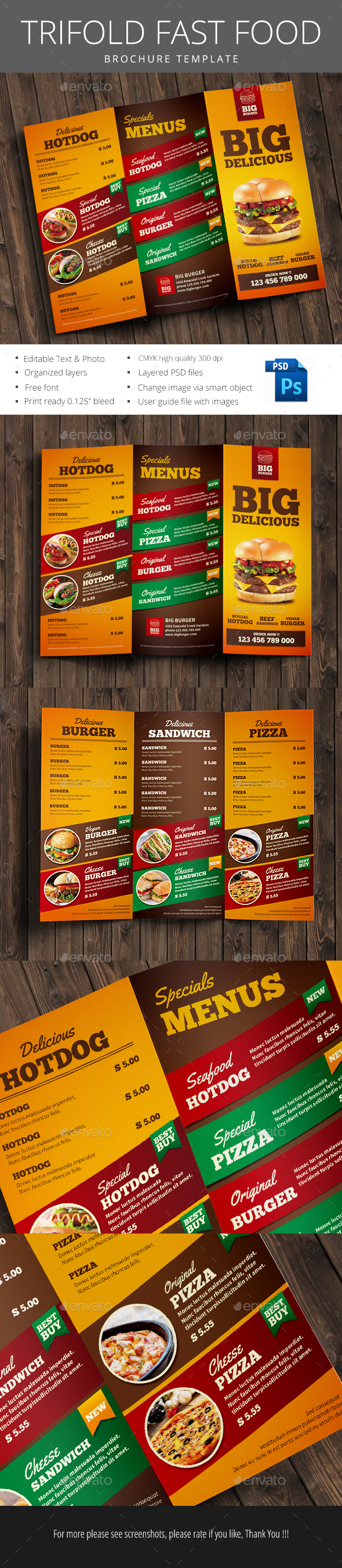 Fast Food Trifold Brochure - Brochures Print Templates