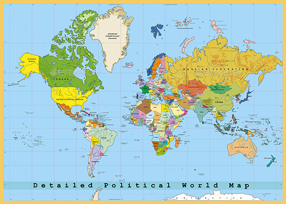 Highly Detailed Political World Map with Capitals. Separated Layers. Vector Illustration. - Travel Conceptual
