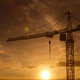 Sunset And Crane Silhouette On Construction Site - VideoHive Item for Sale