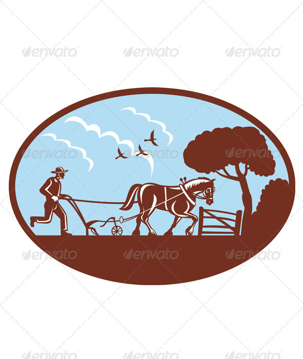 Farmer And Horse Plowing Retro Style - Industries Business