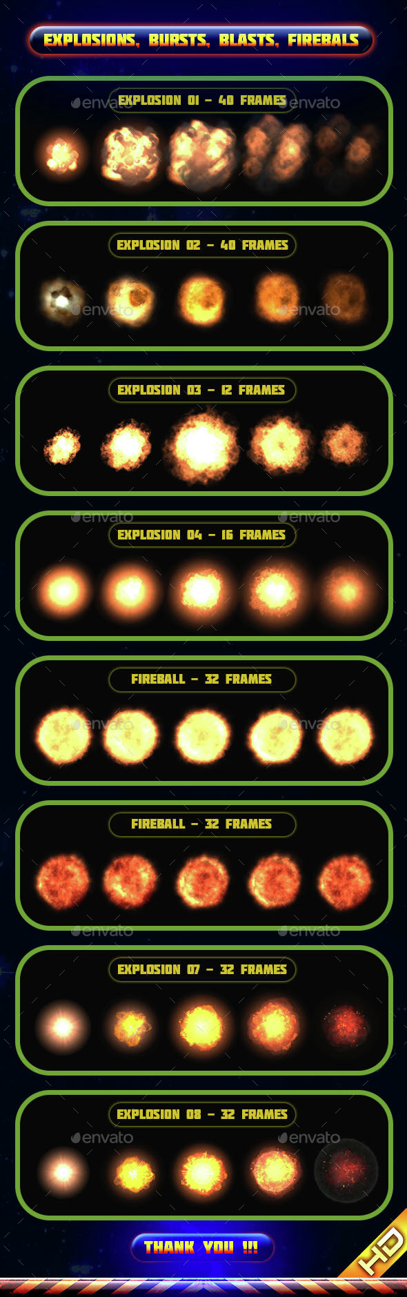 Explosions Blasts Bursts Detonations Fireballs 01 - Sprites Game Assets