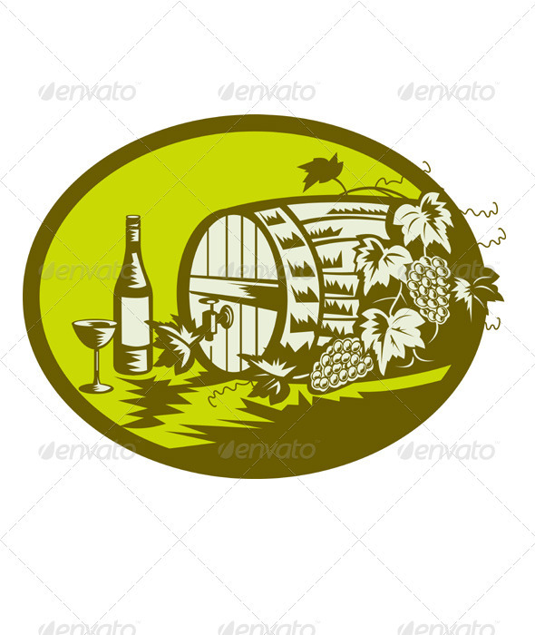 Wine Cask Barrel Bottle Grape Retro - Food Objects