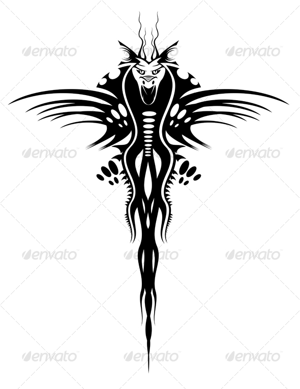 Black dragon - Tattoos Vectors