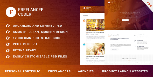 Freelancer Coder – One Page Portfolio PSD Template