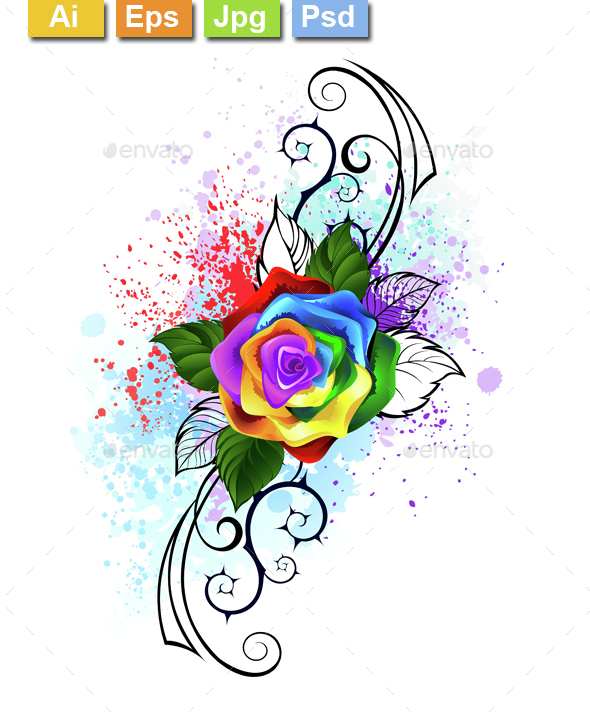 Patterned Rainbow Rose - Tattoos Vectors