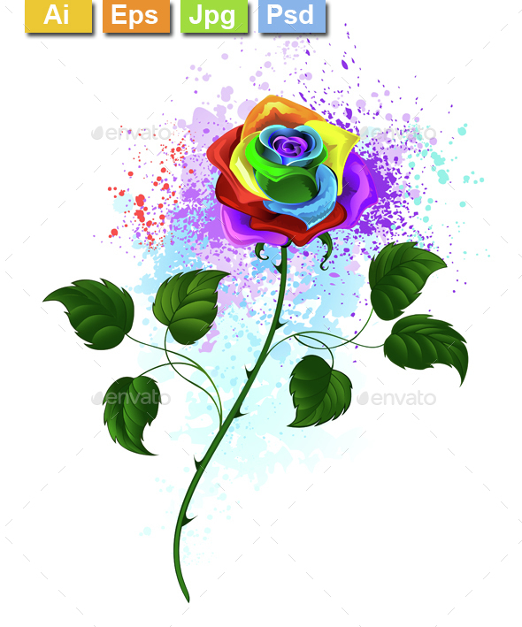 Rainbow Rose - Tattoos Vectors