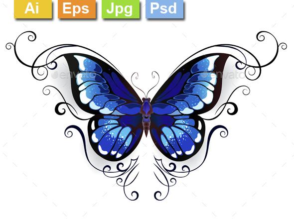 Tattoo Blue Butterfly - Tattoos Vectors