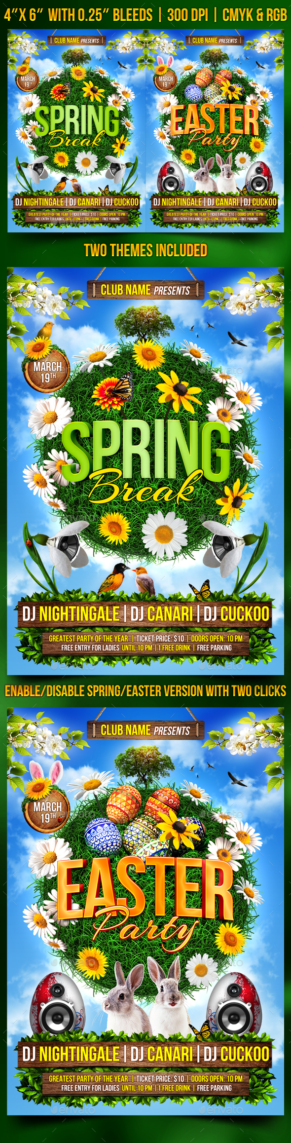 Spring and Easter Flyer - Clubs & Parties Events