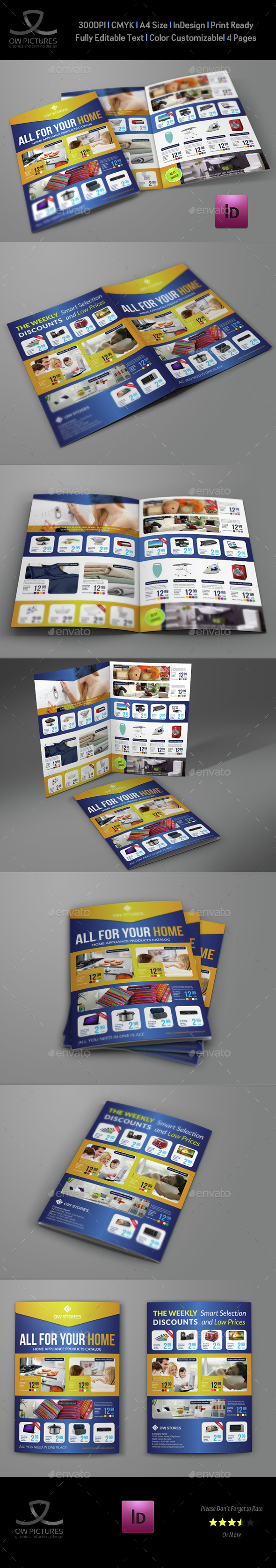 Products Catalog Bi-Fold Brochure Template - Catalogs Brochures