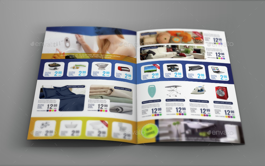 Products Catalog BiFold Brochure Template By Owpictures