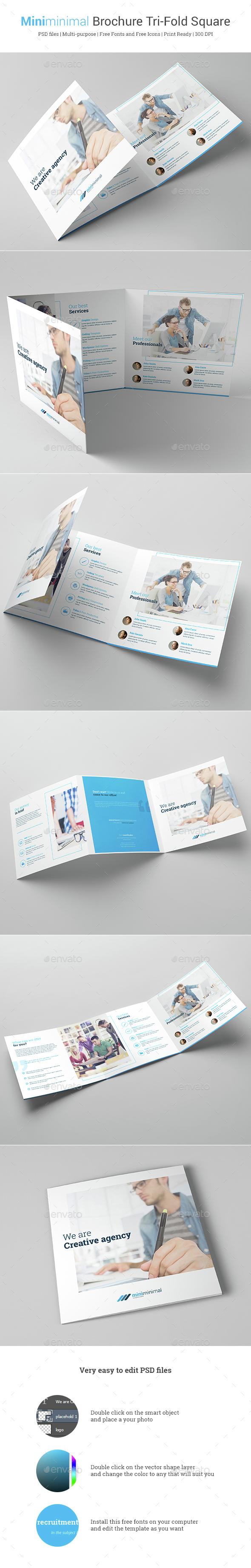 Miniminimal Brochure Tri-Fold Square - Brochures Print Templates