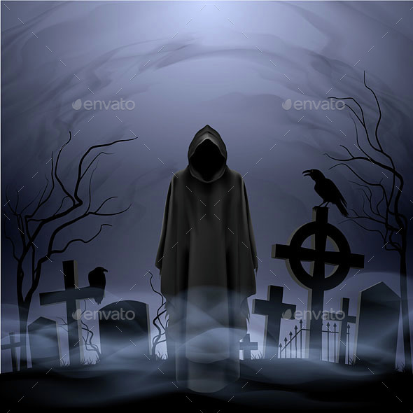 Angel of Death in the Cemetery - Miscellaneous Vectors