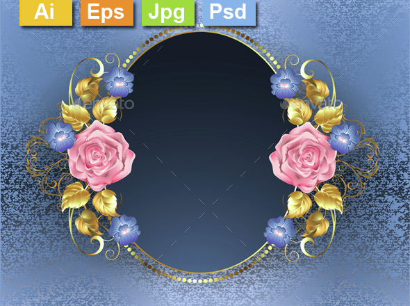 Oval Banner with Pink Roses - Borders Decorative