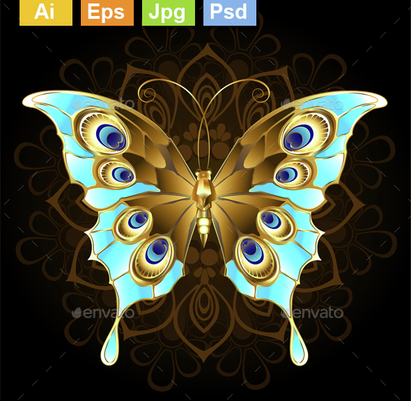Golden Butterfly with Turquoise - Miscellaneous Characters