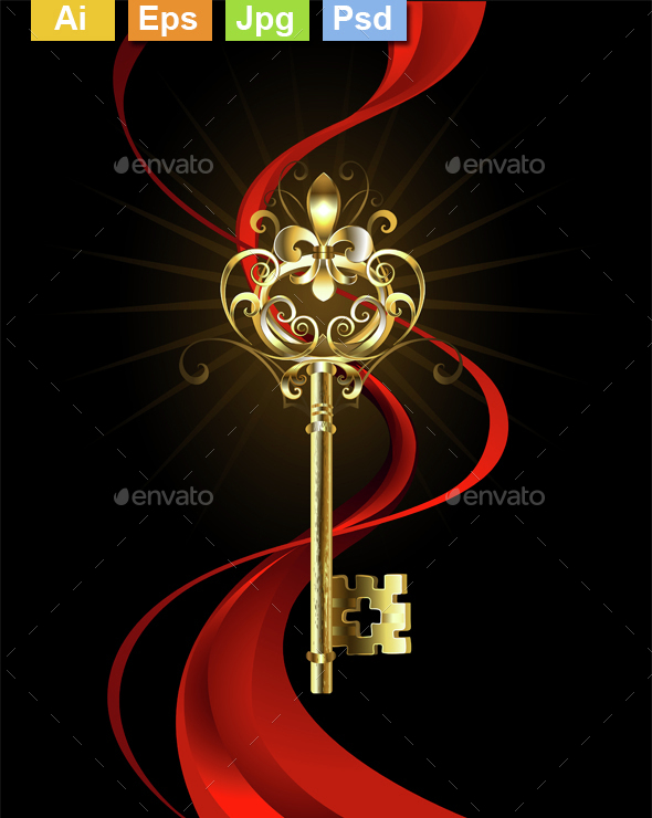 Golden Key with a Fleur de Lis - Decorative Symbols Decorative