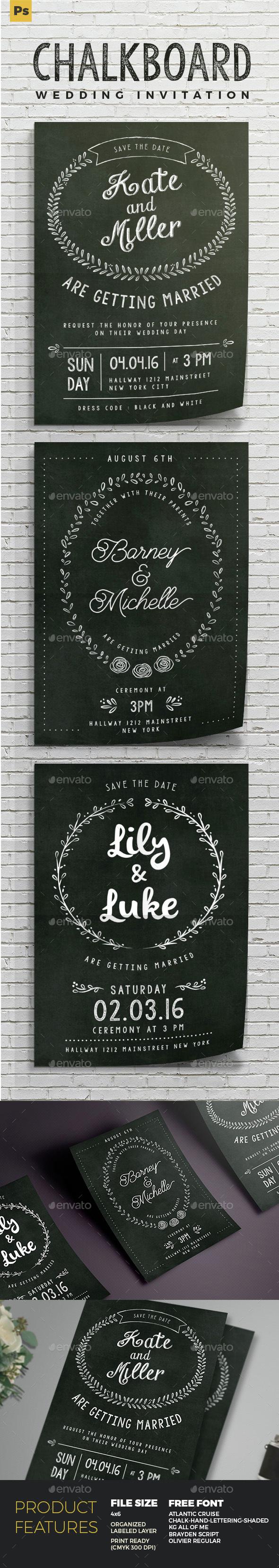 Chalkboard Wedding Invitation - Cards & Invites Print Templates