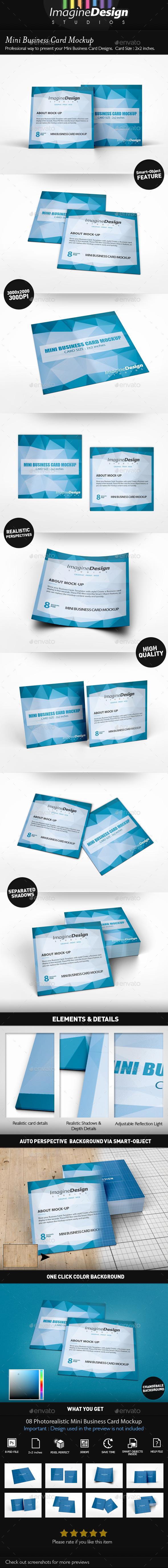 Mini Business Card Mockup - Business Cards Print