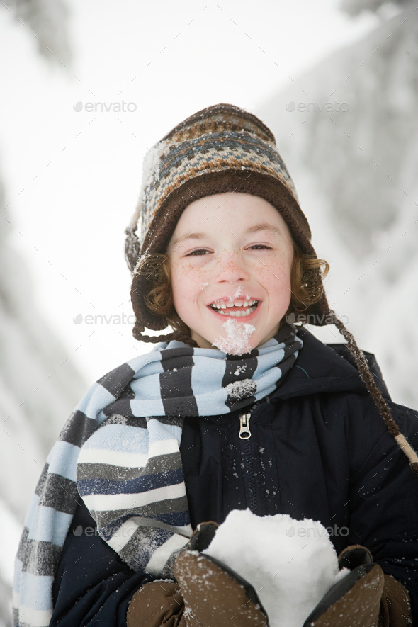 Boy with snow - Stock Photo - Images