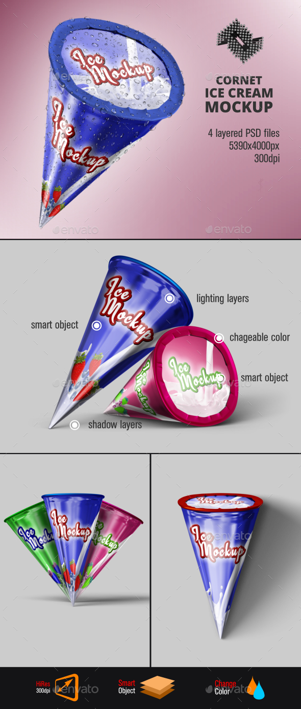 Ice Cream Cone Mockup - Food and Drink Packaging