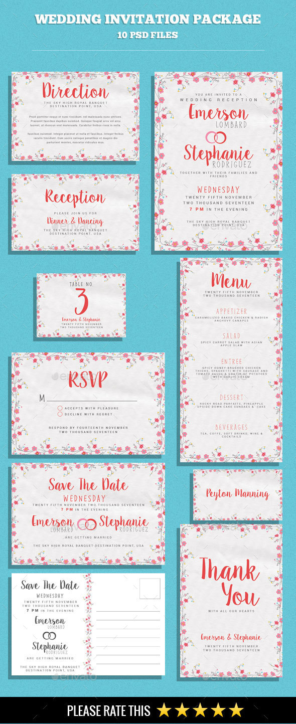 Wedding Invitation and Card Package - Weddings Cards & Invites