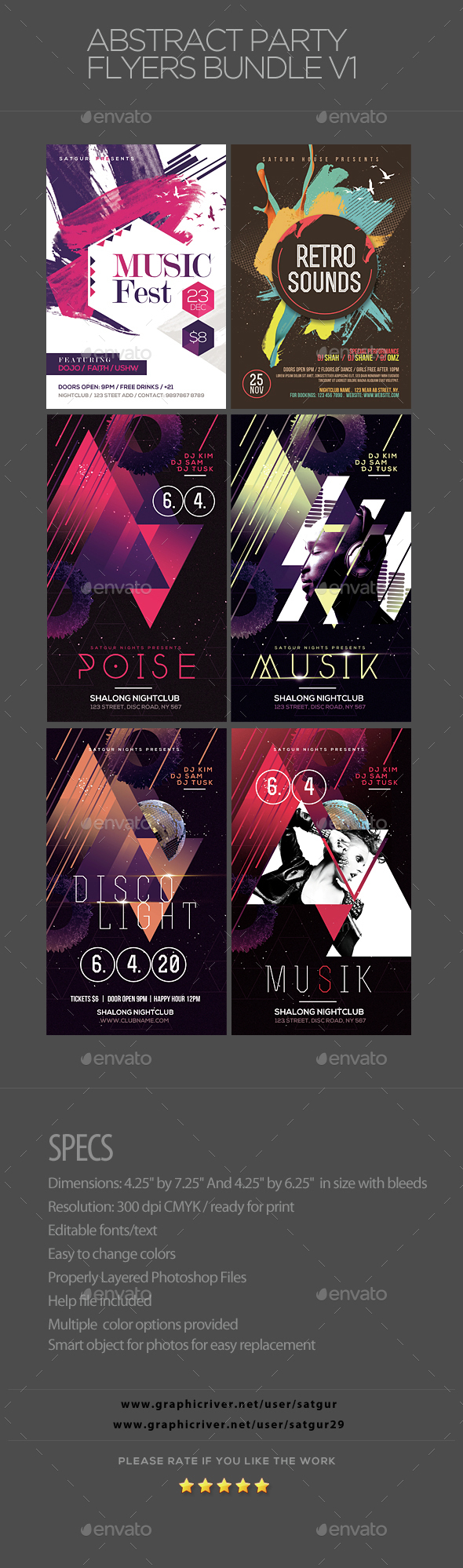 Abstract Party Flyers Bundle Vol1 - Clubs & Parties Events