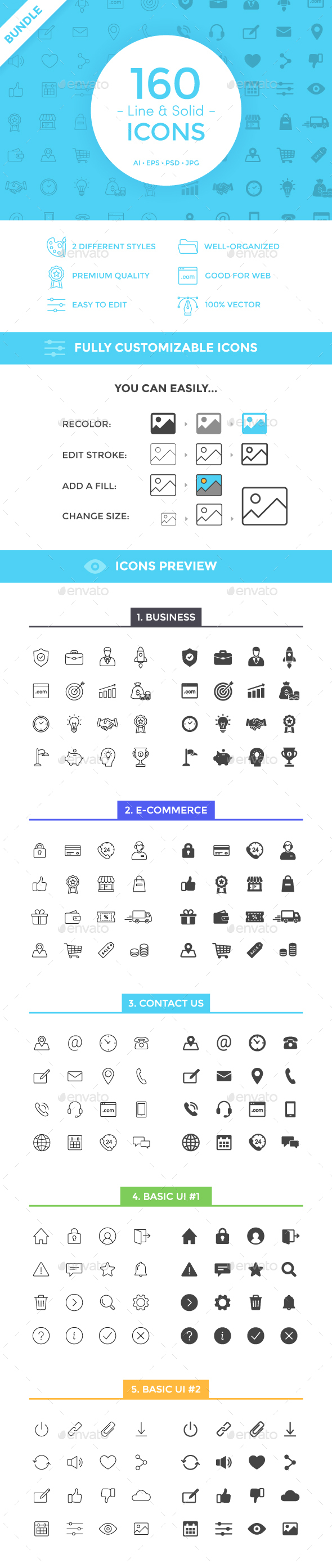 160 Line & Solid Icons Bundle - Web Icons