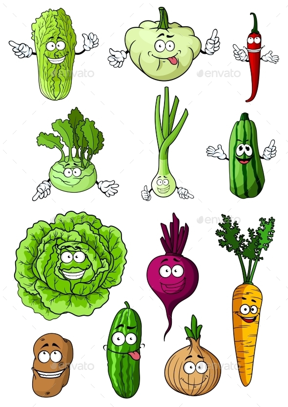 Happy Fresh Cartoon Vegetables Characters - Food Objects
