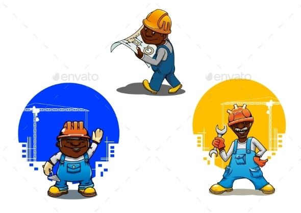 Cartoon Builder, Bricklayer And Engineer - People Characters