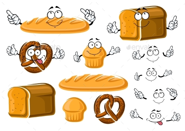 Fresh Baked Bread Loaf, Cupcake And Pretzel - Food Objects