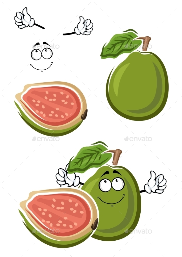 Ripe Cartoon Green Guava Fruit - Food Objects