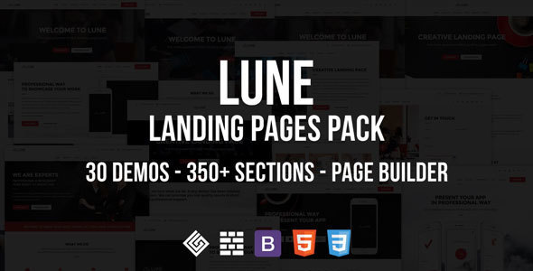 LUNE HTML5 Landing Pages Pack