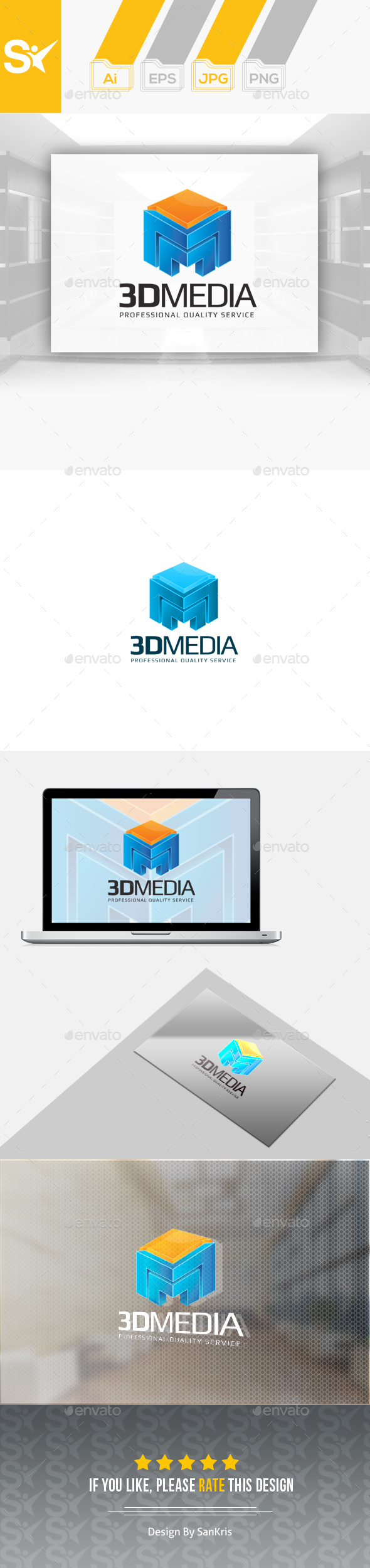 3D Media Logo - 3d Abstract