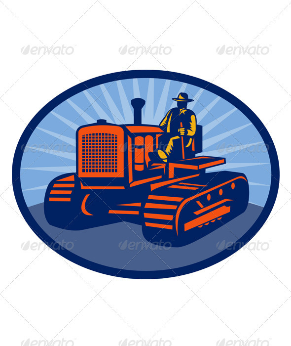 Farmer And Tractor Retro Style - People Characters