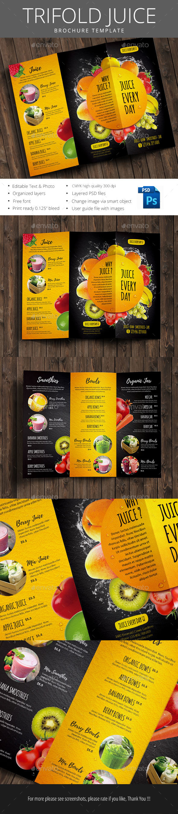Trifold Juice Brochure - Brochures Print Templates