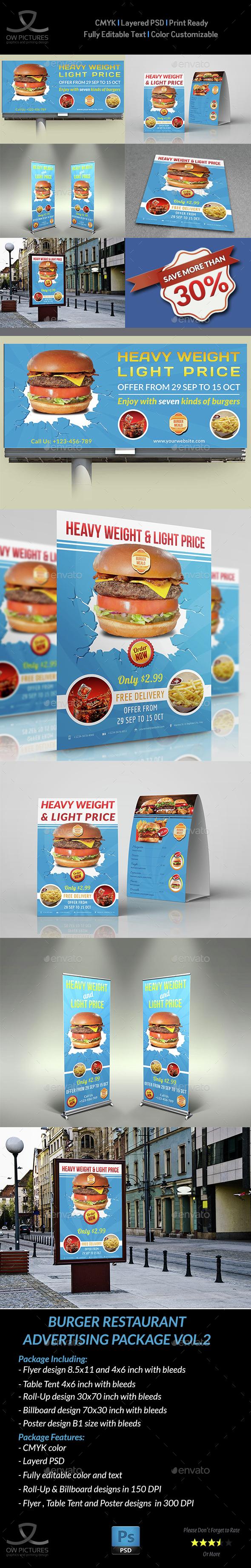 Burger Restaurant Advertising Bundle Template Vol.2 - Signage Print Templates