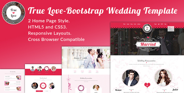 True Love-Bootstrap Wedding Template - Wedding Site Templates