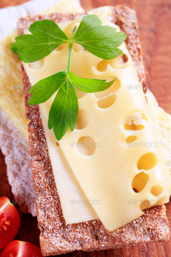 Crisp bread and cheese - Stock Photo - Images