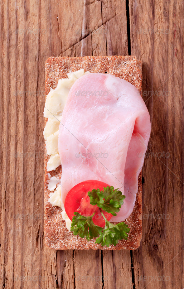 Crispbread and ham - Stock Photo - Images