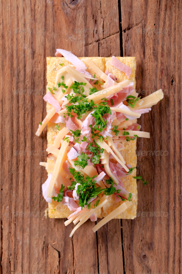 Crispbread with ham and cheese - Stock Photo - Images